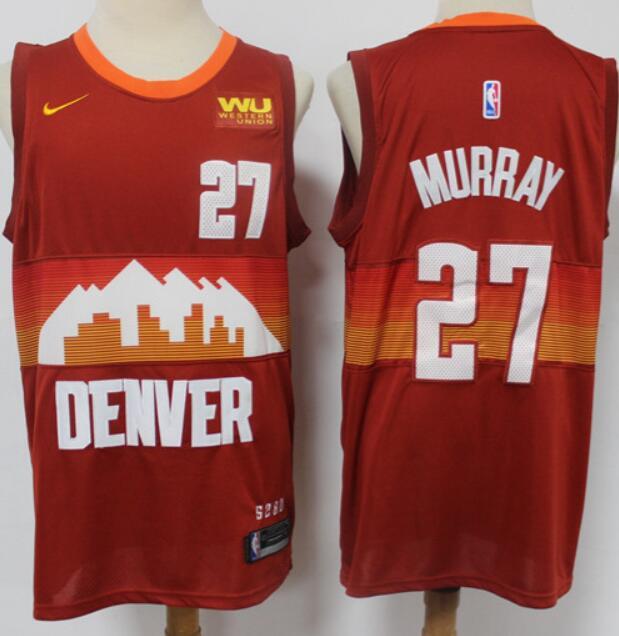 Men's Denver Nuggets #27 Jamal Murray Red 2021 City Edition NBA Swingman Jersey With The Sponsor Logo