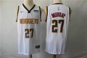 Men's Denver Nuggets 27 Jamal Murray White Nike Swingman Jersey