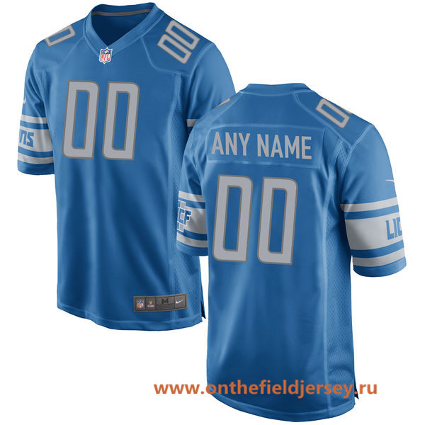 Men's Detroit Lions 2017 Nike Blue Custom Team Color Game Jersey