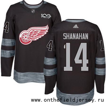 Men's Detroit Red Wings #14 Brendan Shanahan Black 100th Anniversary Stitched NHL 2017 adidas Hockey Jersey