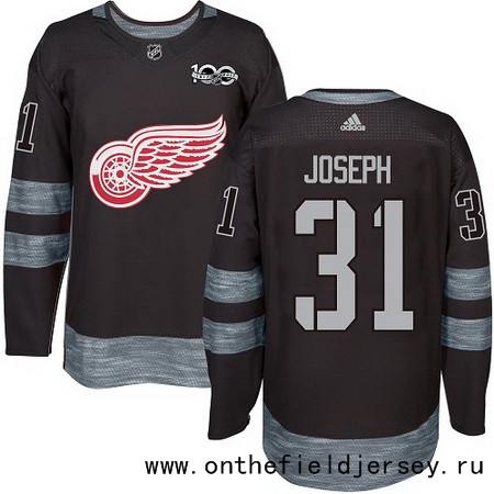Men's Detroit Red Wings #31 Curtis Joseph Black 100th Anniversary Stitched NHL 2017 adidas Hockey Jersey