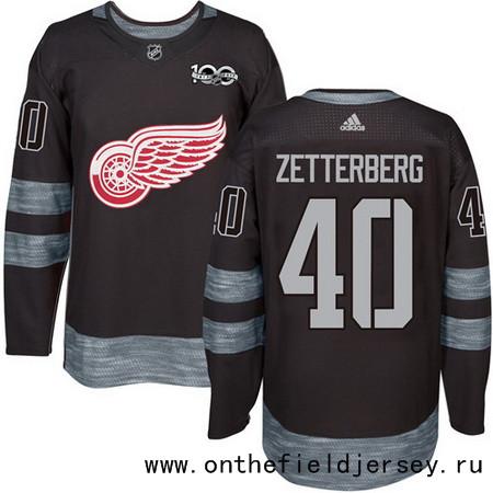 Men's Detroit Red Wings #40 Henrik Zetterberg Black 100th Anniversary Stitched NHL 2017 adidas Hockey Jersey