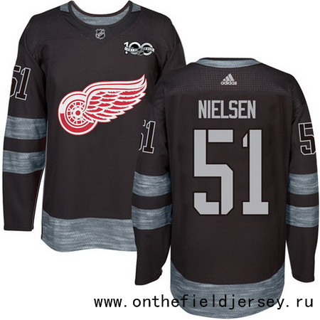 Men's Detroit Red Wings #51 Frans Nielsen Black 100th Anniversary Stitched NHL 2017 adidas Hockey Jersey
