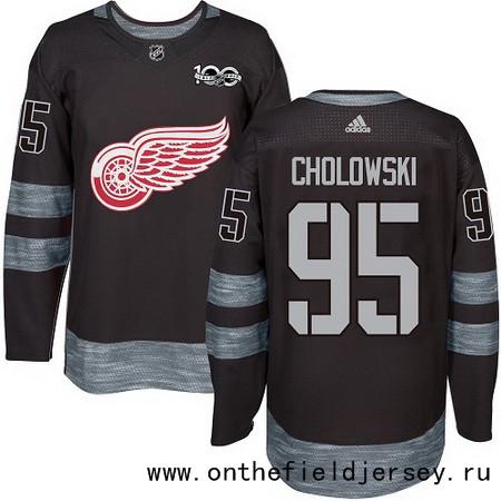 Men's Detroit Red Wings #95 Dennis Cholowski Black 100th Anniversary Stitched NHL 2017 adidas Hockey Jersey