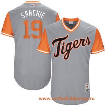 Men's Detroit Tigers Anibal Sanchez -Sanchie- Majestic Gray 2017 Little League World Series Players Weekend Stitched Nickname Jersey