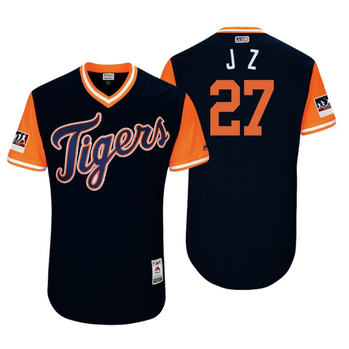 Men's Detroit Tigers Authentic Jordan Zimmermann #27 Navy 2018 LLWS Players Weekend J Z Jersey