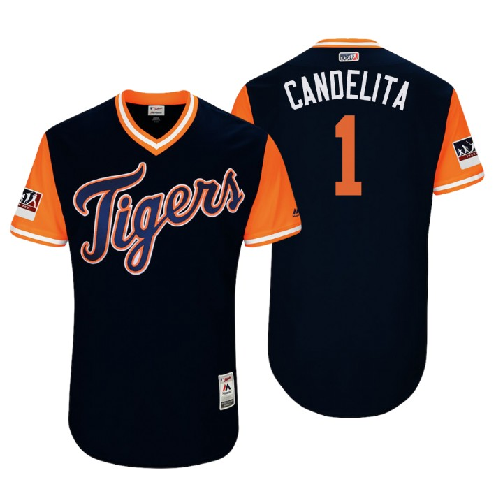 Men's Detroit Tigers Authentic Jose Iglesias #1 Navy 2018 LLWS Players Weekend Candelita Jersey
