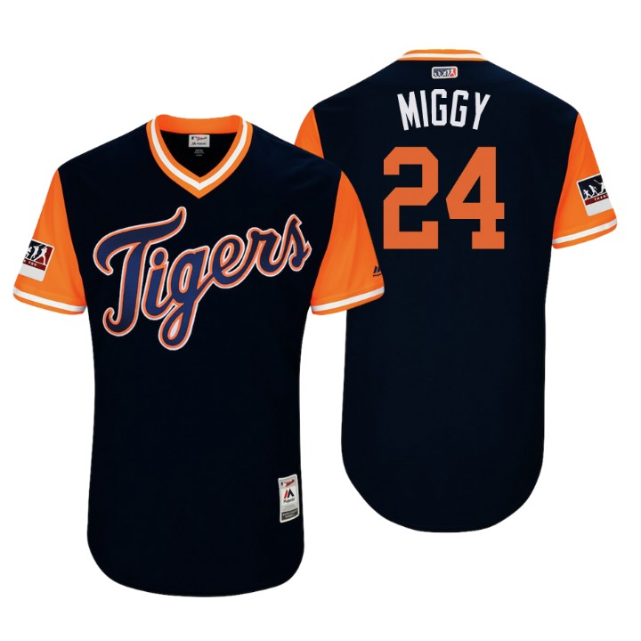 Men's Detroit Tigers Authentic Miguel Cabrera #24 Navy 2018 LLWS Players Weekend Miggy Jersey