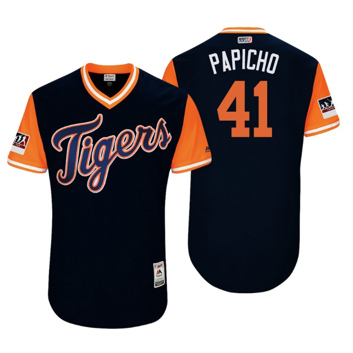 Men's Detroit Tigers Authentic Victor Martinez #41 Navy 2018 LLWS Players Weekend Papicho Jersey