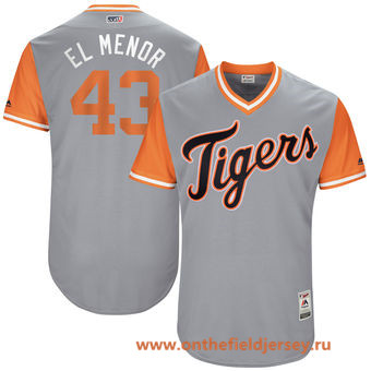 Men's Detroit Tigers Bruce Rondon -El Menor- Majestic Gray 2017 Little League World Series Players Weekend Stitched Nickname Jersey