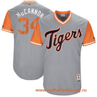 Men's Detroit Tigers James McCann -McCannon- Majestic Gray 2017 Little League World Series Players Weekend Stitched Nickname Jersey
