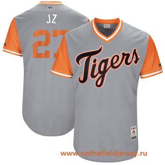 Men's Detroit Tigers Jordan Zimmermann -J Z- Majestic Gray 2017 Little League World Series Players Weekend Stitched Nickname Jersey