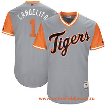 Men's Detroit Tigers Jose Iglesias -Candelita- Majestic Gray 2017 Little League World Series Players Weekend Stitched Nickname Jersey