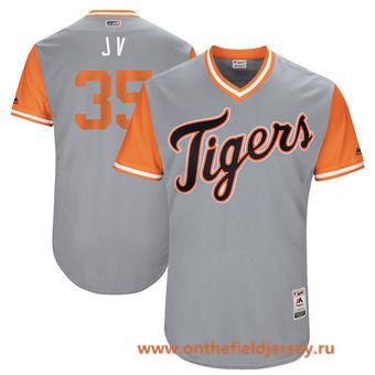 Men's Detroit Tigers Justin Verlander -J V- Majestic Gray 2017 Little League World Series Players Weekend Stitched Nickname Jersey