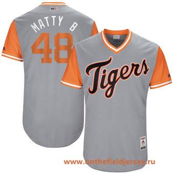 Men's Detroit Tigers Matthew Boyd -Matty B- Majestic Gray 2017 Little League World Series Players Weekend Stitched Nickname Jersey