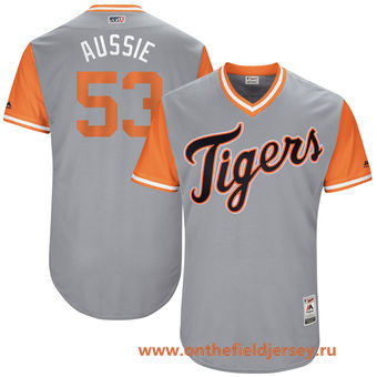 Men's Detroit Tigers Warwick Saupold -Aussie- Majestic Gray 2017 Little League World Series Players Weekend Stitched Nickname Jersey