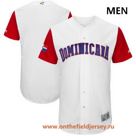 Men's Dominican Republic Baseball Majestic White 2017 World Baseball Classic Custom Team Jersey