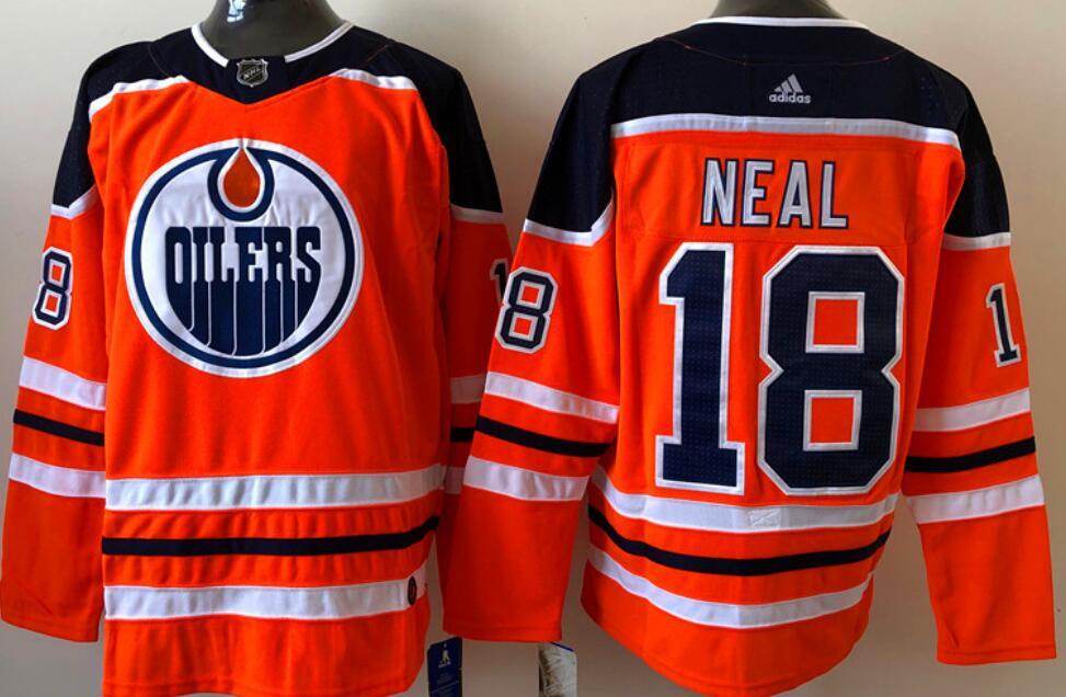Men's Edmonton Oilers #18 James Neal Orange Home Adidas Stitched NHL Jersey