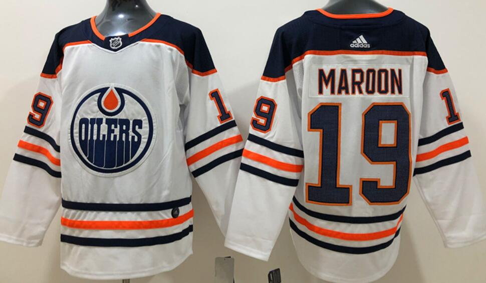 Men's Edmonton Oilers #19 Patrick Maroon White Road Adidas Stitched NHL Jersey