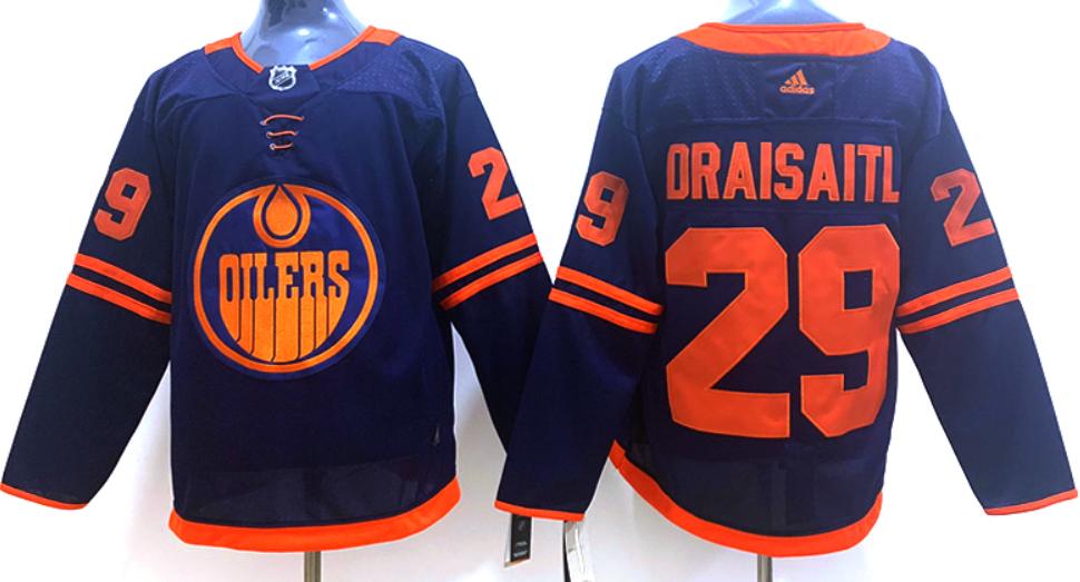 Men's Edmonton Oilers #29 Leon Draisaitl Navy Blue Alternate Adidas Hockey Stitched NHL Jersey