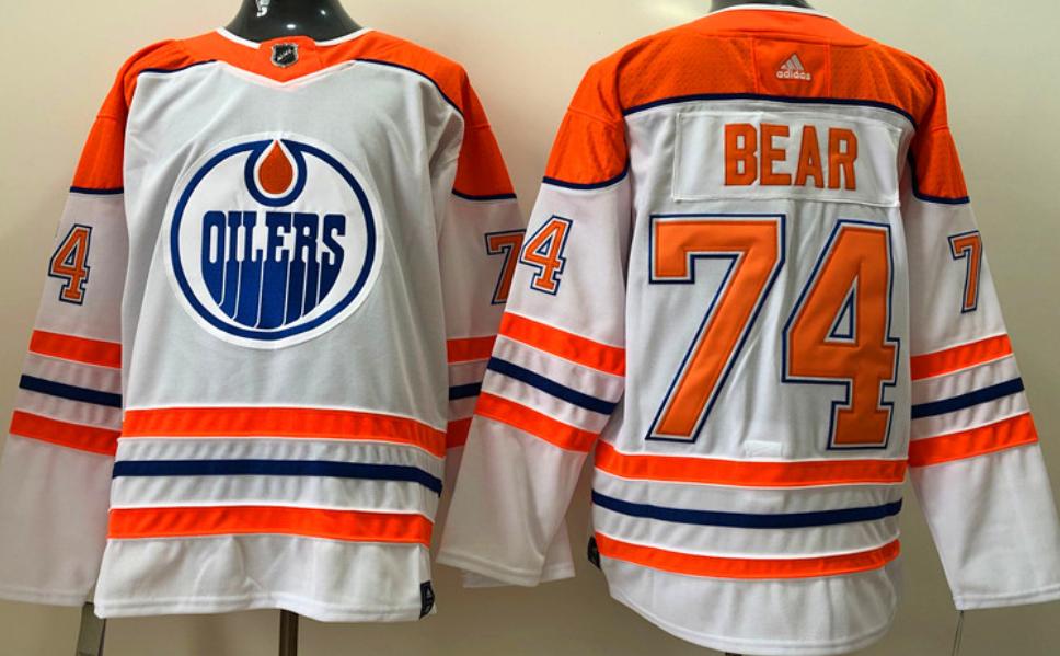 Men's Edmonton Oilers #74 Ethan Bear  White 2021 Reverse Retro Stitched NHL Jersey
