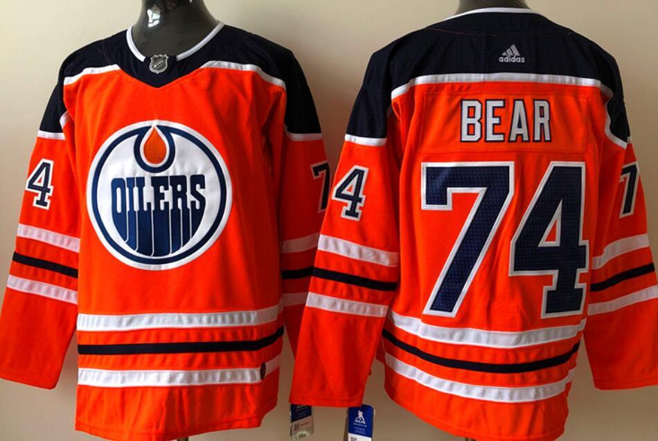 Men's Edmonton Oilers #74 Ethan Bear Orange Home Adidas Stitched NHL Jersey