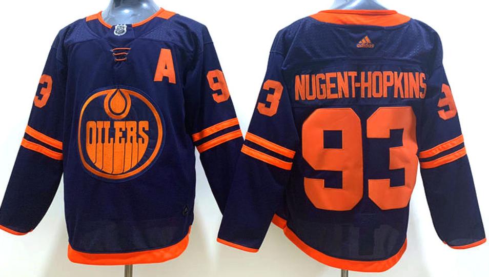 Men's Edmonton Oilers #93 Ryan Nugent-Hopkins Navy Blue Alternate Adidas Hockey Stitched NHL Jersey