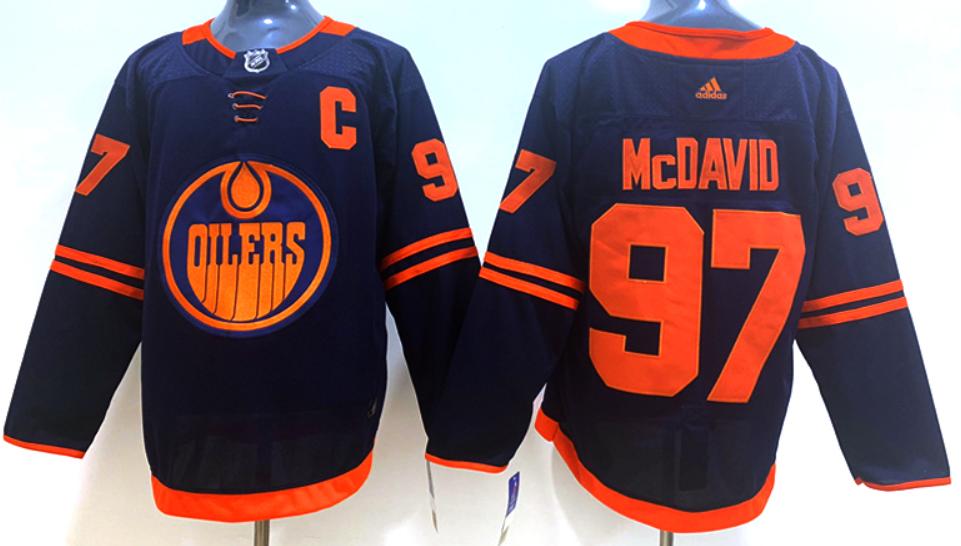 Men's Edmonton Oilers #97 Connor McDavid Navy Blue Alternate Adidas Hockey Stitched NHL Jersey