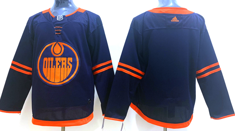 Men's Edmonton Oilers Blank Navy Blue Alternate Adidas Hockey Stitched NHL Jersey
