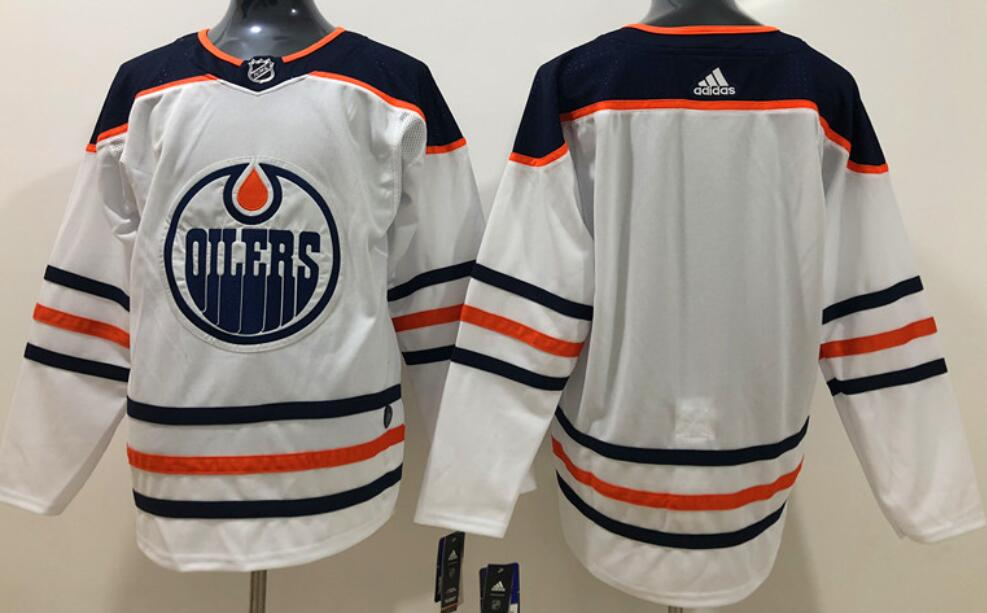 Men's Edmonton Oilers Blank White Road Authentic Adidas Stitched NHL Jersey