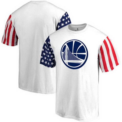 Men's Fanatics Branded White Golden State Warriors Stars and Stripes T-Shirt_15