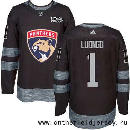 Men's Florida Panthers #1 Roberto Luongo Black 100th Anniversary Stitched NHL 2017 adidas Hockey Jersey