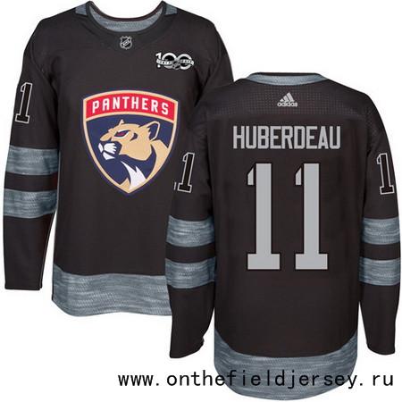 Men's Florida Panthers #11 Jonathan Huberdeau Black 100th Anniversary Stitched NHL 2017 adidas Hockey Jersey
