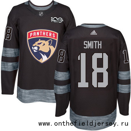 Men's Florida Panthers #18 Reilly Smith Black 100th Anniversary Stitched NHL 2017 adidas Hockey Jersey