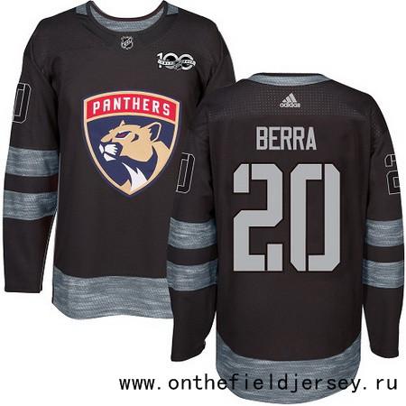 Men's Florida Panthers #20 Reto Berra Black 100th Anniversary Stitched NHL 2017 adidas Hockey Jersey