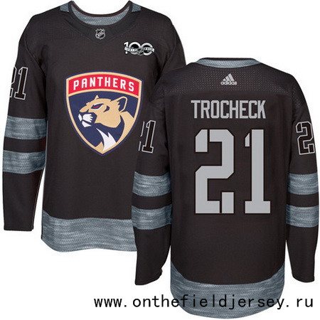 Men's Florida Panthers #21 Vincent Trocheck Black 100th Anniversary Stitched NHL 2017 adidas Hockey Jersey