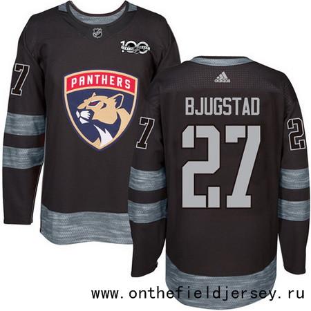 Men's Florida Panthers #27 Nick Bjugstad Black 100th Anniversary Stitched NHL 2017 adidas Hockey Jersey