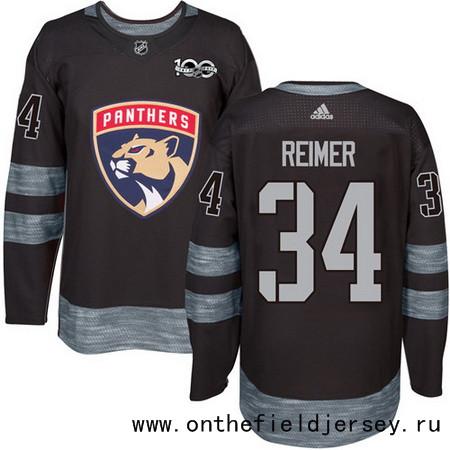Men's Florida Panthers #34 James Reimer Black 100th Anniversary Stitched NHL 2017 adidas Hockey Jersey