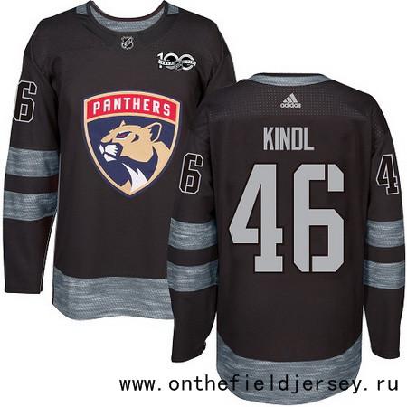 Men's Florida Panthers #46 Jakub Kindl Black 100th Anniversary Stitched NHL 2017 adidas Hockey Jersey