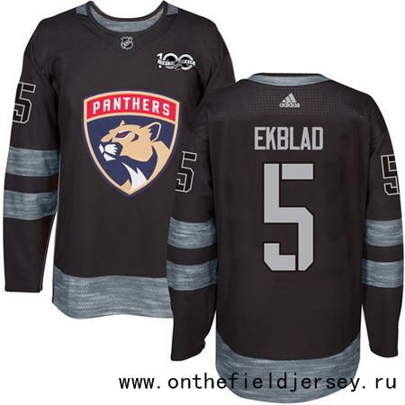 Men's Florida Panthers #5 Aaron Ekblad Black 100th Anniversary Stitched NHL 2017 adidas Hockey Jersey