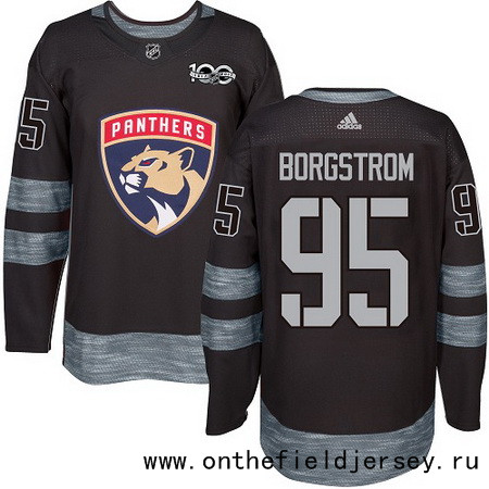 Men's Florida Panthers #95 Henrik Borgstrom Black 100th Anniversary Stitched NHL 2017 adidas Hockey Jersey