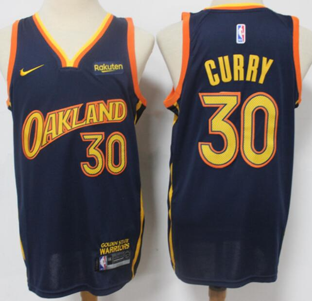Men's Golden State Warriors #30 Stephen Curry Black NEW 2021 Nike City Edition Stitched Jersey With Sponsor Logo