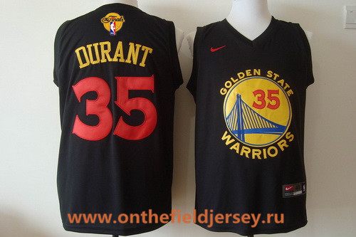 Men's Golden State Warriors #35 Kevin Durant 2016 Black Fashion Stitched Nike 2017 The NBA Finals Patch Jersey