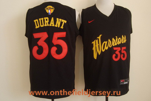 Men's Golden State Warriors #35 Kevin Durant 2017 Black Fashion Stitched NBA Nike 2017 The NBA Finals Patch Jersey