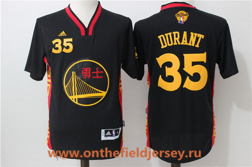 Men's Golden State Warriors #35 Kevin Durant Black Adidas 2017 The NBA Finals Patch 2015 Chinese Fashion Stitched NBA Jersey