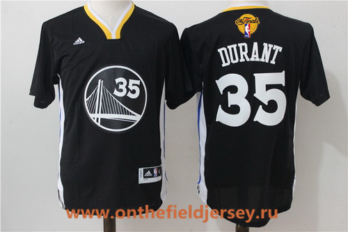 Men's Golden State Warriors #35 Kevin Durant Black Short-Sleeved Revolution 30 Swingman 2017 The NBA Finals Patch Jersey