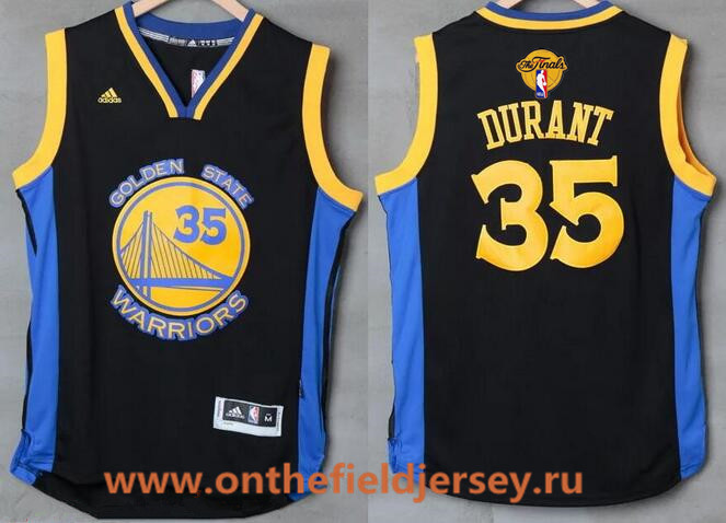 Men's Golden State Warriors #35 Kevin Durant Black With Blue Edge Stitched NBA Adidas 2017 The NBA Finals Patch Jersey