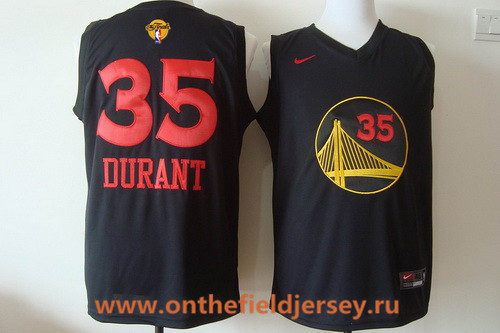 Men's Golden State Warriors #35 Kevin Durant Black With Red Fashion Stitched Nike 2017 The NBA Finals Patch Jersey