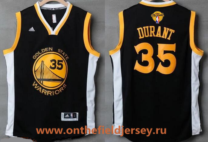 Men's Golden State Warriors #35 Kevin Durant Black With White Edge Stitched NBA Adidas 2017 The NBA Finals Patch Jersey