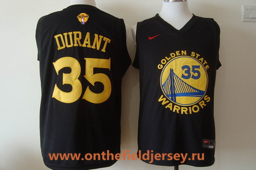 Men's Golden State Warriors #35 Kevin Durant Black With Yellow Fashion Stitched Nike 2017 The NBA Finals Patch Jersey